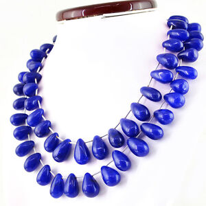 489.90 CTS EARTH MINED PEAR SHAPE FACETED BLUE SAPPHIRE BEADS NECKLACE RS