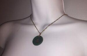 #211 antique JADEITE Pendant set w/14k gold Bright Translucent Green 29.00 tcw