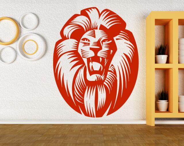 Wall Sticker Vinyl Decal Lion Head Medallion Animal Decor Big Cat Hunter (m413)