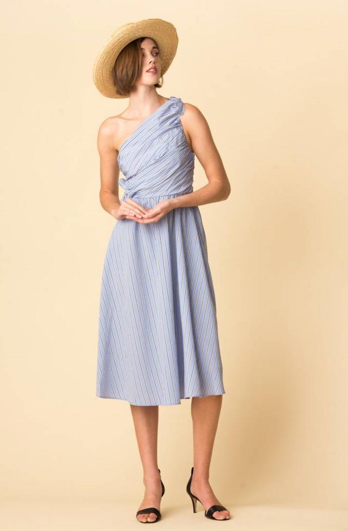 NWT NWT NWT A.L.C. Cabrera Stripe One-Shoulder Dress Size 2 337dcc
