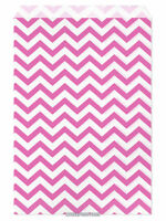 100 Flat Merchandise Paper Bags: 6 X 9, Pink Chevron Stripes On White