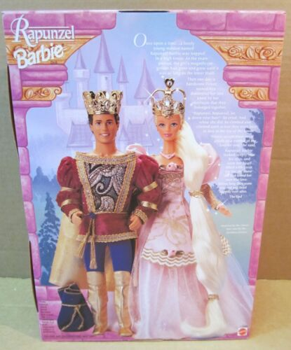 Rapunzel Barbie Doll Pink Gown Long Blonde Golden Hair W// Jewel Crown NEW Boxed