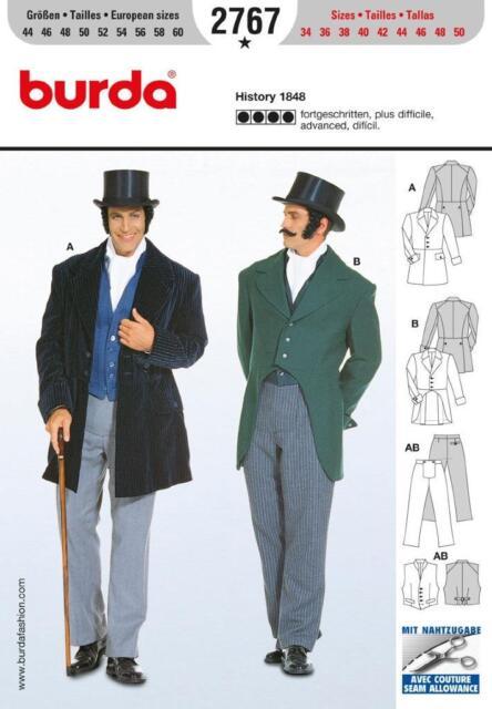 Burda 2767 Sewing Pattern Mens 19th Century Historical Costume | eBay