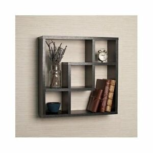 wall mounted floating shelves storage display home decor hanging shelf wood rack ebay. Black Bedroom Furniture Sets. Home Design Ideas