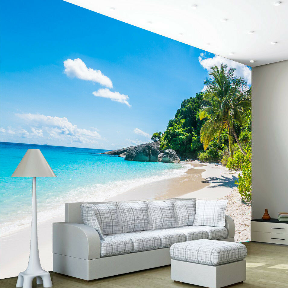 Beach Tropical Tree Sea Ocean Photo Wallpaper Wall Mural Home Bedroom Decoration
