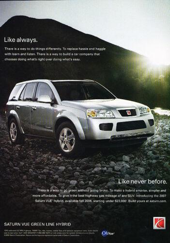 2006 2007 Saturn Vue Green Line Hybrid Original Car Advertisement Print Ad D62