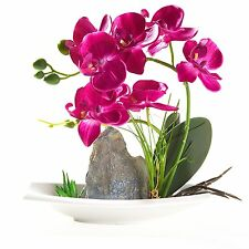 Artificial Phaleanopsis Arrangement with Vase Decorative Orchid Flower Bonsai