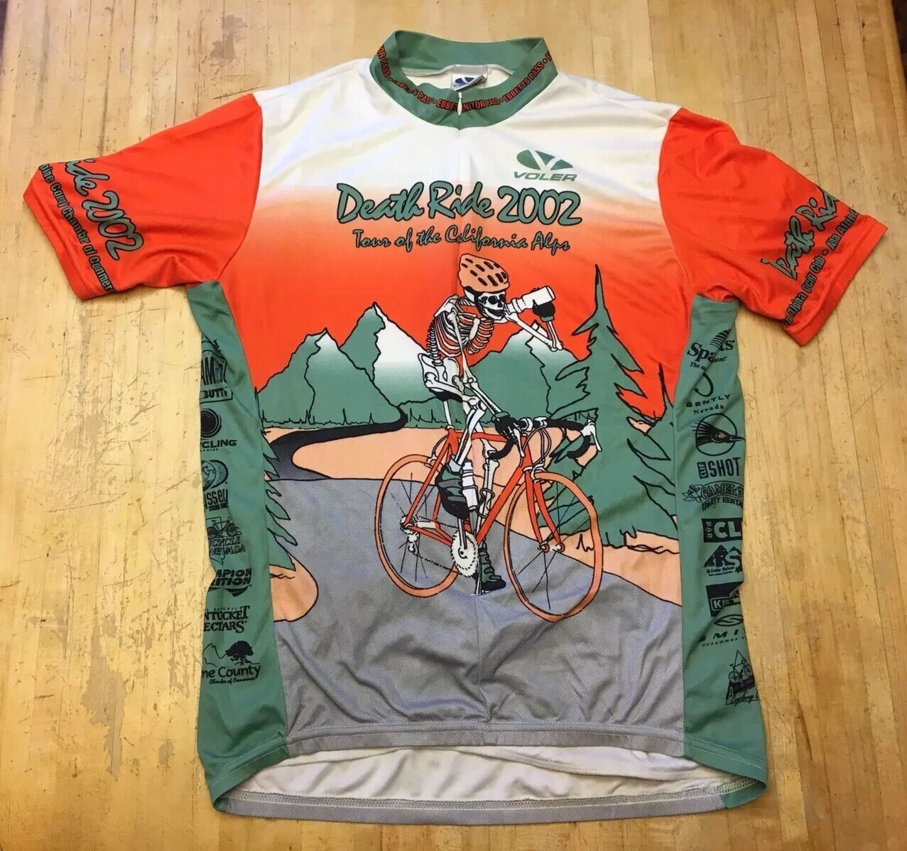 RARE Mens Voler Death Ride 2002 Short Sleeve Cycling Jersey Large