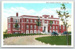 Dover-Delaware-Kent-General-Hospital-Vintage-Cars-in-Circle-Drive-1930-Postcard