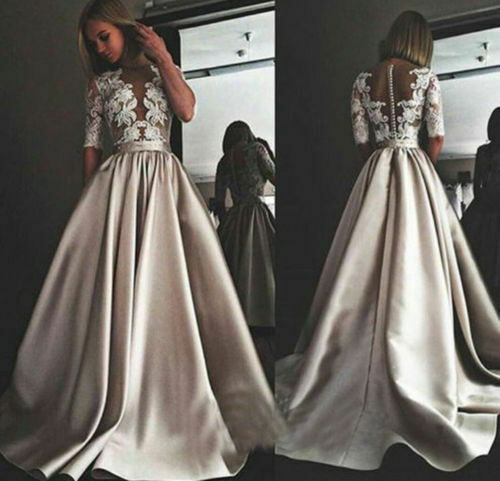 Wedding Dresses A-line Half Sleeves Applique Bridal Satin Gowns Custom Made Lace