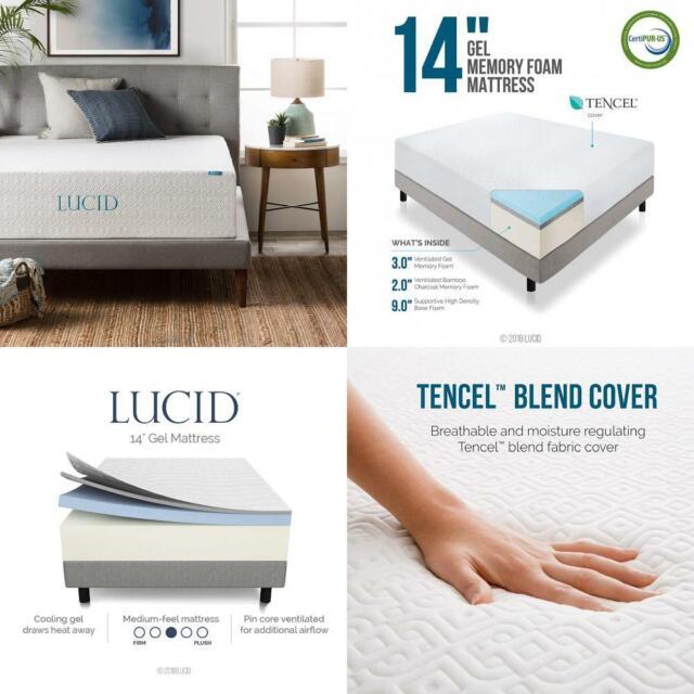 LUCID 14 Inch Memory Foam Mattress - Triple-Layer - Ventilated Gel Twin