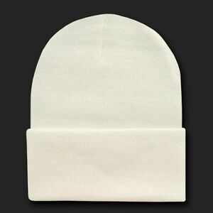 Ivory Knit Plain Beanie Hat Cap Skull Snowboard Winter Warm Hats ... 911ea053e52
