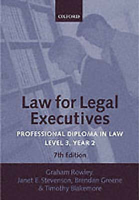 1 of 1 - Rowley, Graham : Law for Legal Executives: Professional D