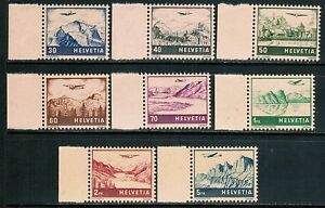 Switzerland Air Mail 1941 Sc#C27-34, Airplane Landscape, MNH**VF cp3