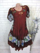 Damen SOMMER Kleid Strandkleid Tunika Hippie BOHO Batik Bordo 46 48 50 (302)