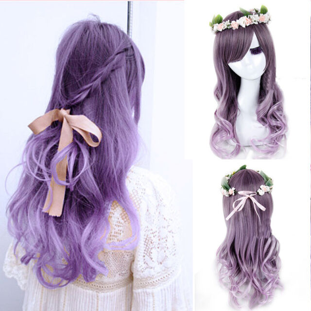 Women's Lolita Curly Wavy Long Wigs Cosplay Party Full Hair Wig Purple Ombre