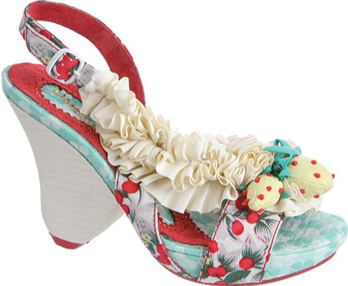 distribuzione globale IRREGULAR CHOICE scarpe RASPBERRY RIPPLES Dimensione 9.5 9.5 9.5 IVORY SATIN RIBBON BERRIES NIB  negozio outlet