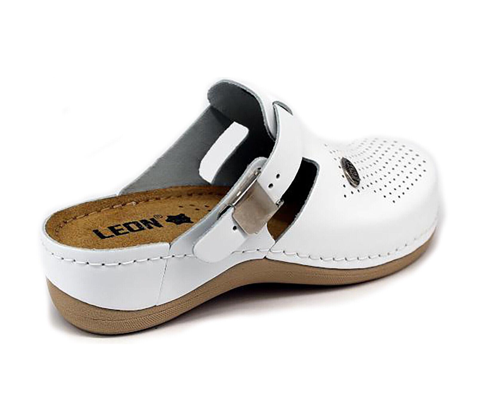 LEON 900 900 900 Ladies Women Leather Slip On Mules Clogs Slippers Sandals, White New UK 2ac15b