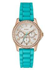 GUESS Women's Turquoise and Rose Gold-Tone Polished Glamour Watch U0588L2