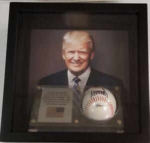 Shadow-Box-POTUS-President-034-Donald-Trump-034-Hand-Signed-Baseball-Display-W-COA