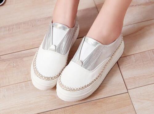 Pour Femmes Cuir Talon Blanc Comme Chaussures Mocassins 4 Argent Ballerines EFZfS