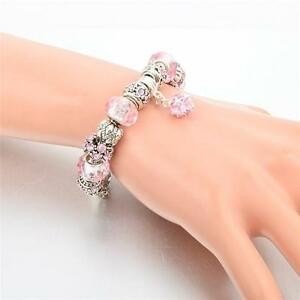 Silver-European-Charm-Bracelet-Crystal-Beads-Charms-Bangle-Women-Fashion-Jewelry