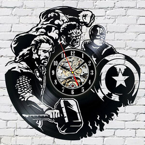 The-Avengers-Marvel-Comics-Exclusive-wall-clock-made-of-vinyl-record-GIFT