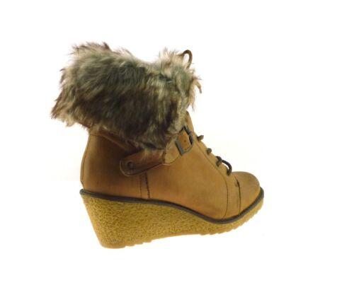 Bottines Femme Talon Compensé d/'hiver femme en polaire à Lacets Fermeture Éclair Bottines £ 5 Chaussures Taille