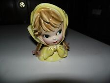 "Inarco Vtg 1950's Head Vase 6"" Girl Blonde Hair Pigtails Yellow Head Scarf E2523"
