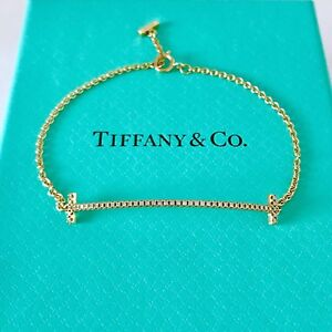 "f3d895080b798 Details about Tiffany & Co. 18K Yellow Gold Diamond T Smile Bracelet Size  Small 6"" W/packing!!"