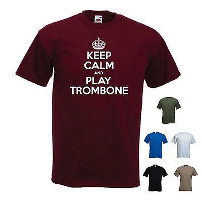 'keep Calm And Play Trombone' Music Choir Band Marching T-shirt Tee Gift StäRkung Von Sehnen Und Knochen
