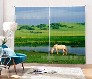 3d caballo césped 4761 bloqueo foto cortina cortina de impresión sustancia cortinas de ventana
