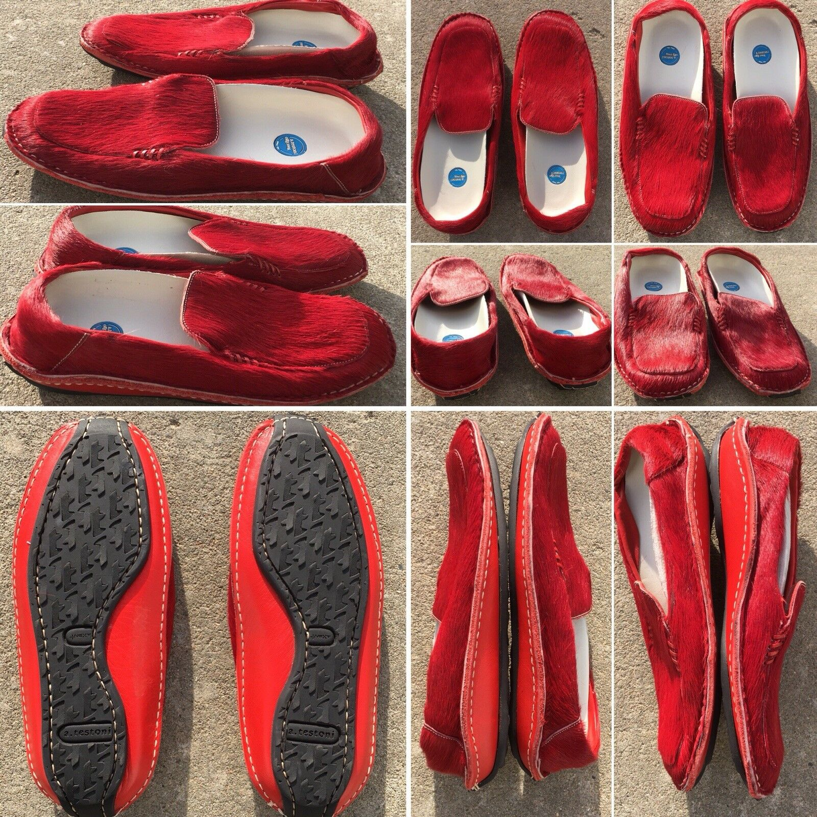 A Testoni Your Ego shoes Red Leather & Hair On Hide Moccasins Sz 36 Slip On