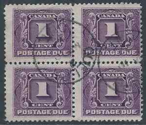 Scott-J1c-1c-Reddish-Violet-Postage-Due-block-Mar-10-1927-Guelph-ON-cancels
