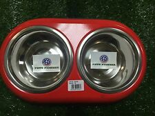 Double Stainless Steel bowls 1 QT 32 oz RED pet dog dishes bowls plates dinner