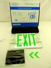 Green Led Emergency Exit Light Sign Ceiling Edge Lit Battery Backup Black Dual