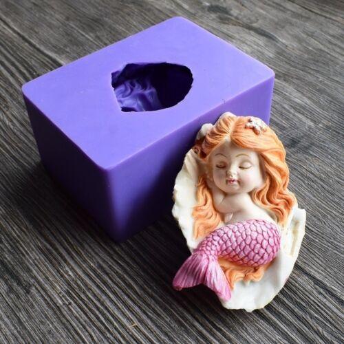 Sleeping Mermaid Silicone Mold Fondant Cake Baking Tools Handmade Soap Mold