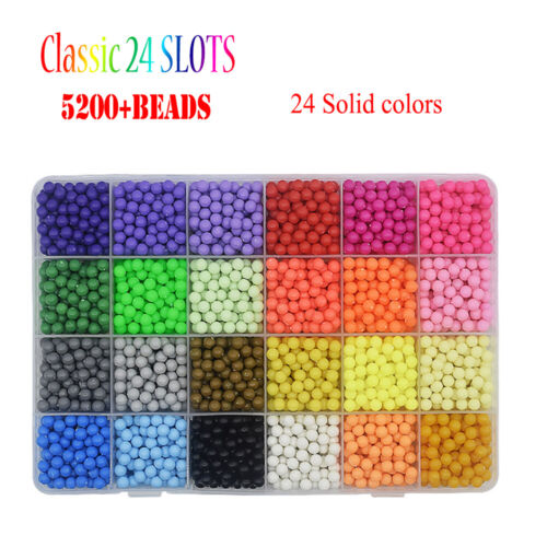 3000-5200 SUPER REFILL DIY Aquabeads Water Fuse Beads 24 SEPARATE Color Packing