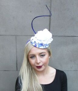 Image is loading White-Royal-Blue-Feather-Flower-Fascinator-Pillbox-Hat- 7f42fe950e6