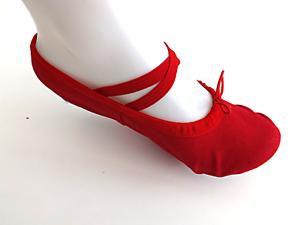 RED CANVAS BALLET GYMNASTIC YOGA SPLIT SOLE SHOES