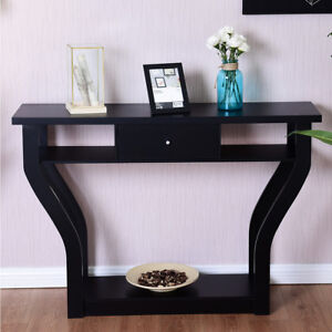 Black accent console table modern sofa entryway hallway - Contemporary console tables with drawers ...