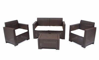 Set per esterno in resina effetto rattan completo divano,poltrone tavolino moka