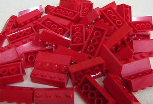 LEGO LOT OF 50 RED 2 X 4 SLOPED SLOPE BRICKS BUILDING BLOCKS