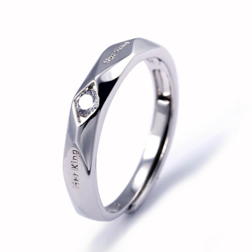 Couple Wedding BridalWomen Men Her King His Queen Silver Adjustable Opening Ring