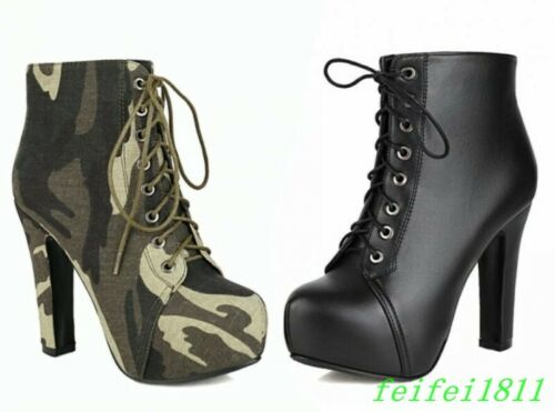 Womens Camouflage Ankle Boots Platform Motor High Block Heels Lace Up Work Shoes