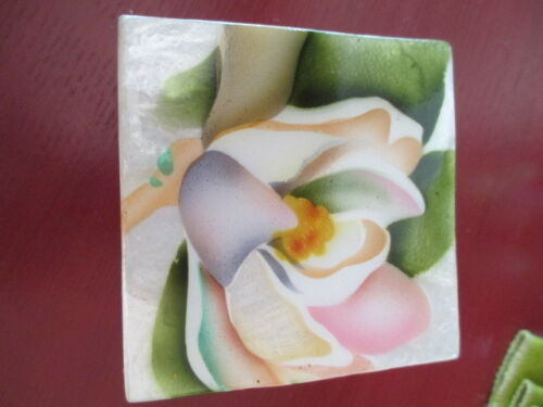 MAGNOLIA FLOWER CAPIZ SHELL TRINKET BOX #1738