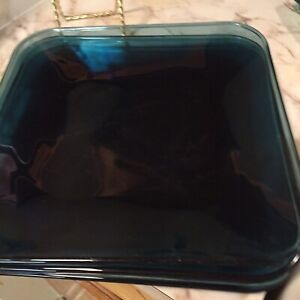 Vintage Cobalt Blue Glass Square Dinner Plates Set Of Four 101/4 Each