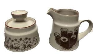 Noritake Stoneware #8341 Desert Flowers Creamer and Sugar w Lid -AS IS