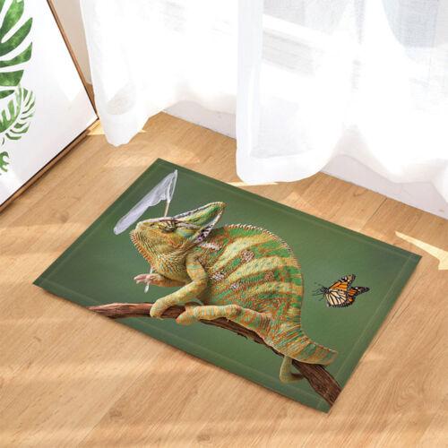 "Chameleon With Butterfly Flannel Non-slip Bathroom Rugs Door Mat Carpet 16X24/"""
