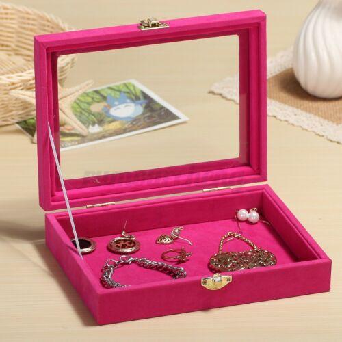 Velvet Glass Jewelry Ring Organizer Holder Display Box Earring Storage Case